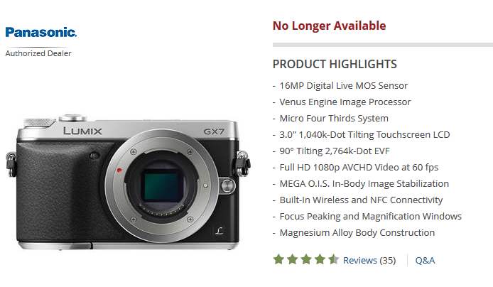 panasonic GX7 no longer available