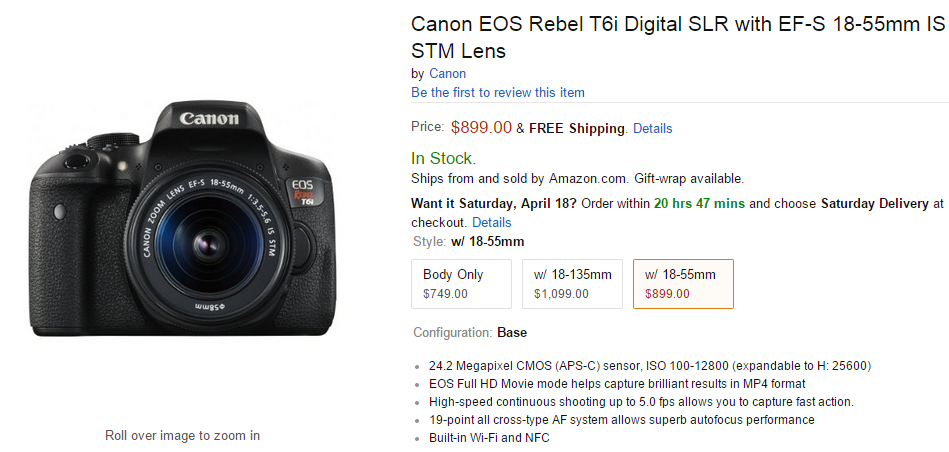 Canon EOS Rebel T6i in stock