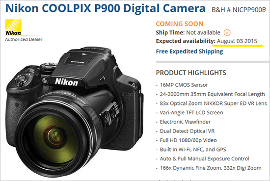 Nikon-Coolpix-P900-camera in stock on August 3
