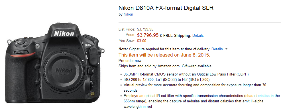 Nikon D810 to be released on June 8