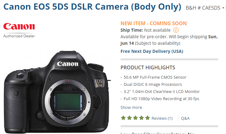 Canon EOS 5dS to start shipping
