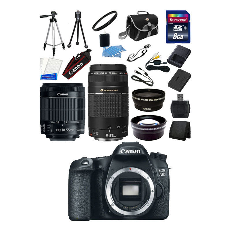 Canon EOS 70D +4 lens kit + 16 GB