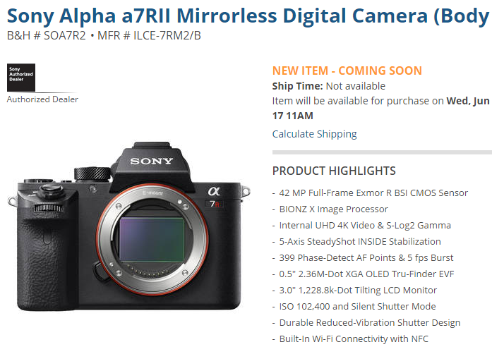 Sony a7R II pre-order on June 17