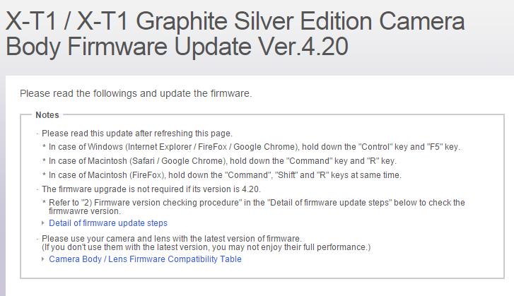 Fujifilm X-T1 Fireware 4.2.0