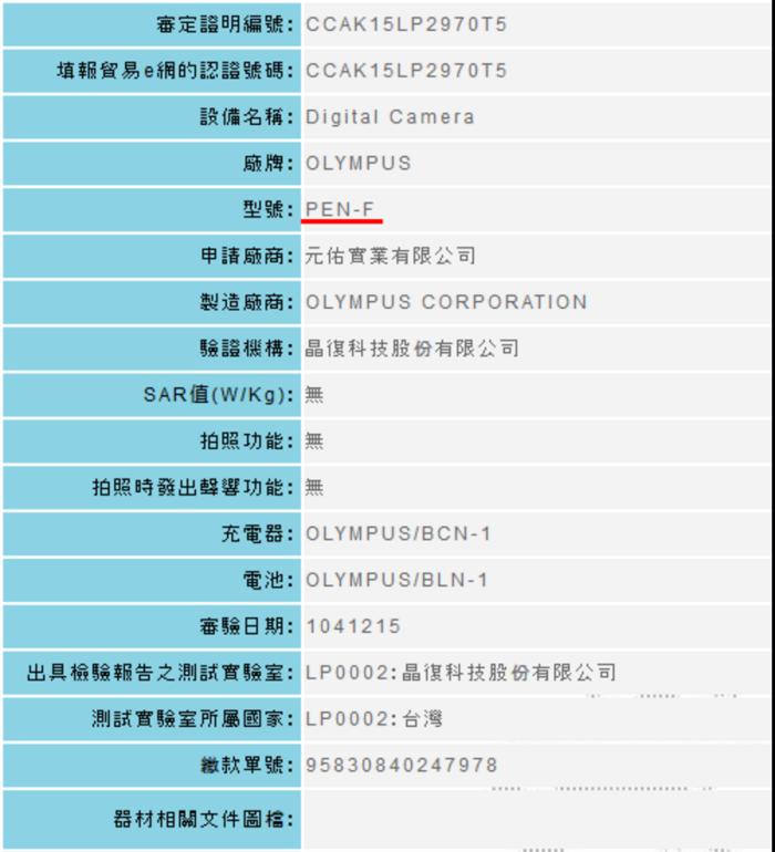 Olympus PEN-F camera registered