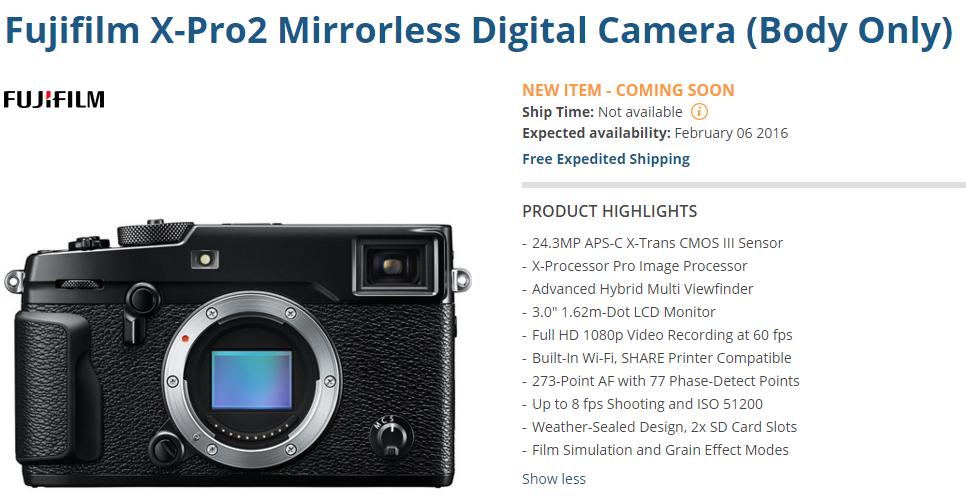 Fujifilm X-Pro2 pre-order
