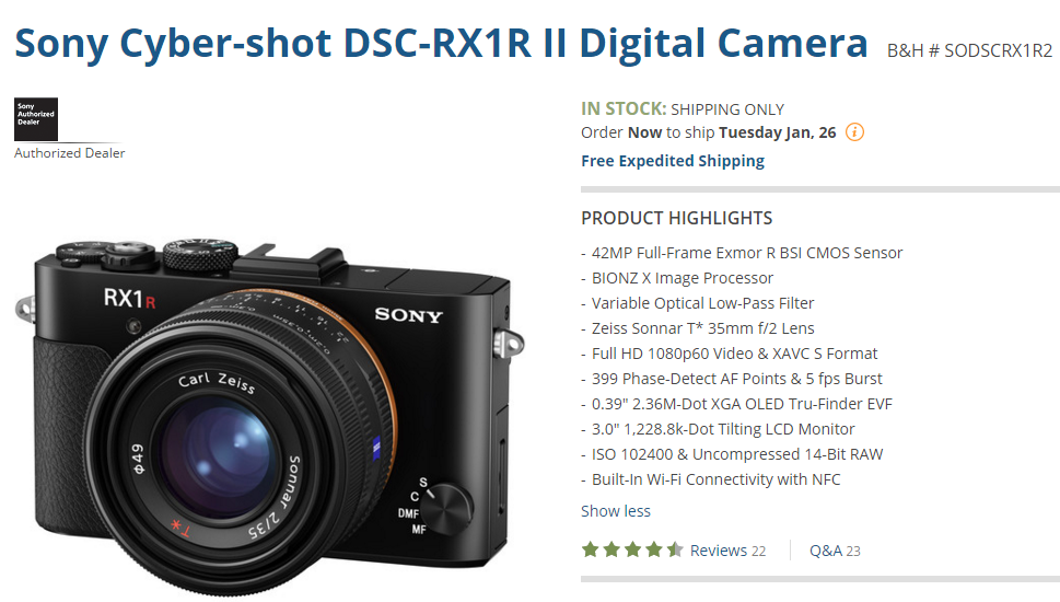 Sony RX1R II in stock