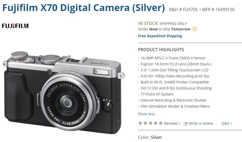 Fujifilm X70 in stock