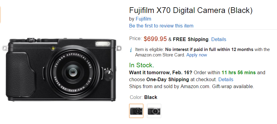 Fujifilm X70 in stock