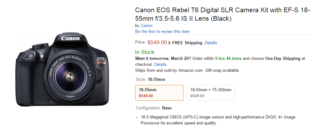 Canon EOS Rebel T6 in stock