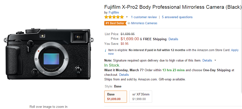 Fujifilm X-pro2 in stock