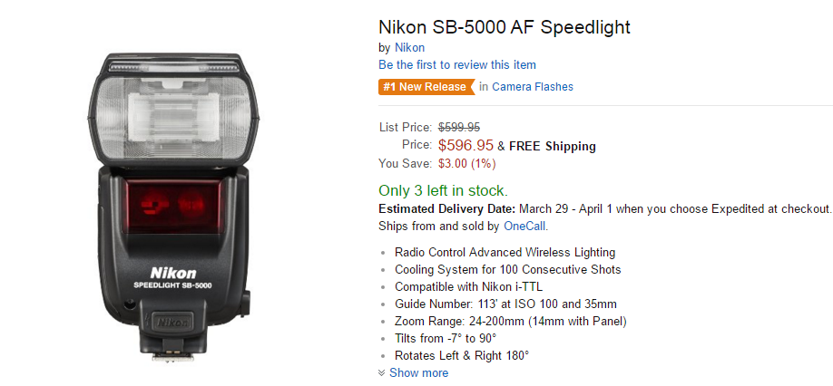 Nikon SB-5000 AF Speedlight in stock at amazon