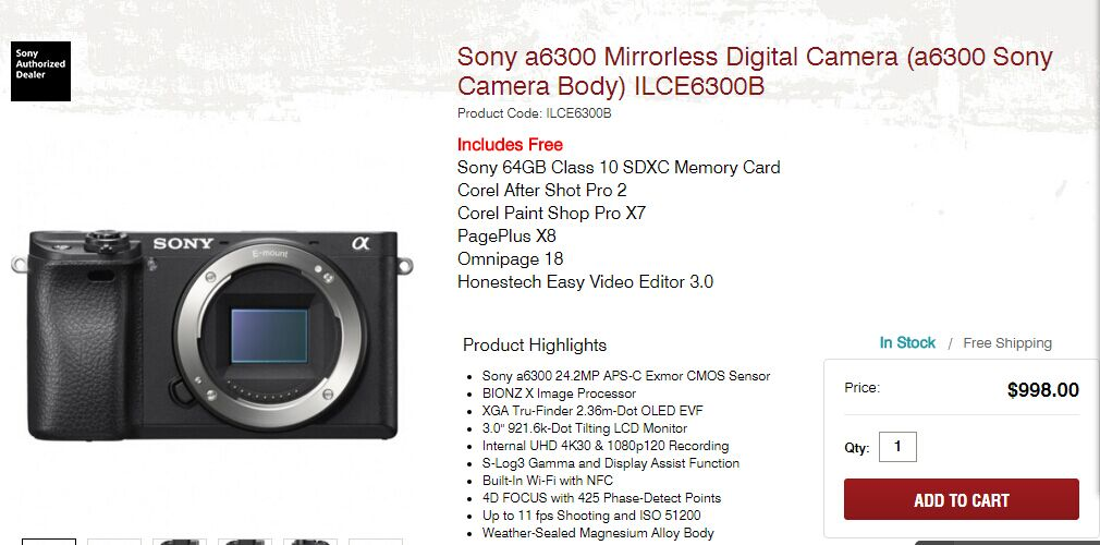Sony A6300 in stock at focus camera
