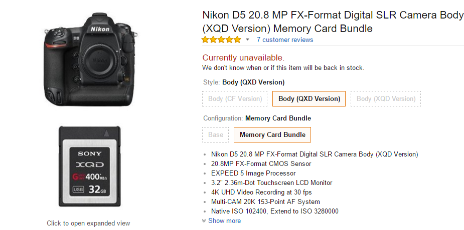 Nikon D5 bundle with 32GB XQD card