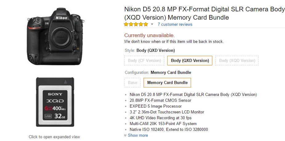 Nikon D5 bundle with 32GB XQD card