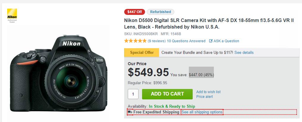 Nikon D5500 deal