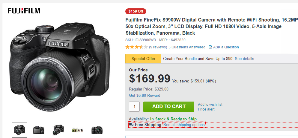 Fujifilm FinePix S9900W deal