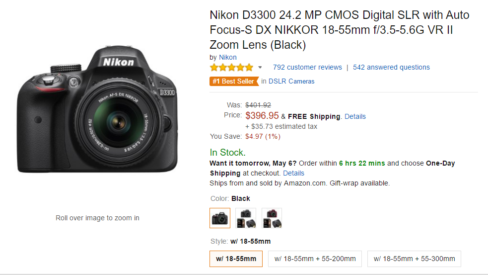 Nikon D3300 with lens deal at amazon