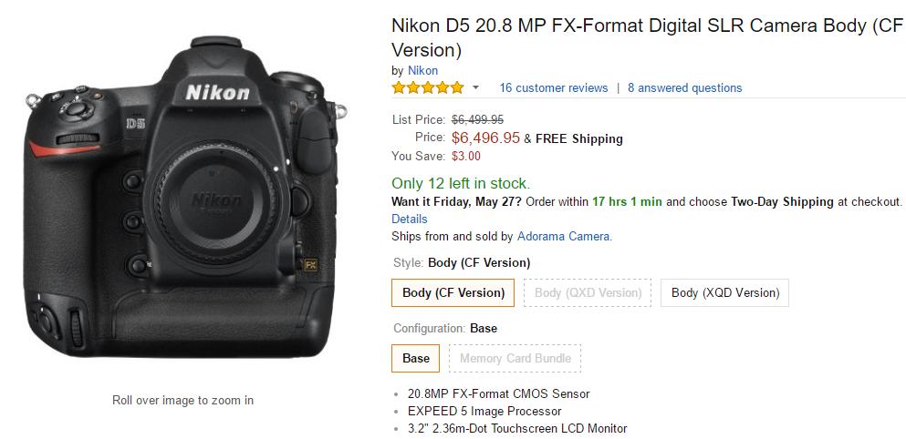 Nikon D5 in stock