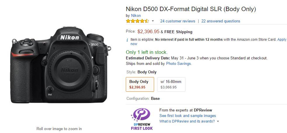 Nikon D500 in stock