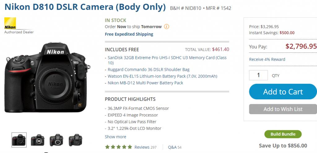 Nikon D810 deal