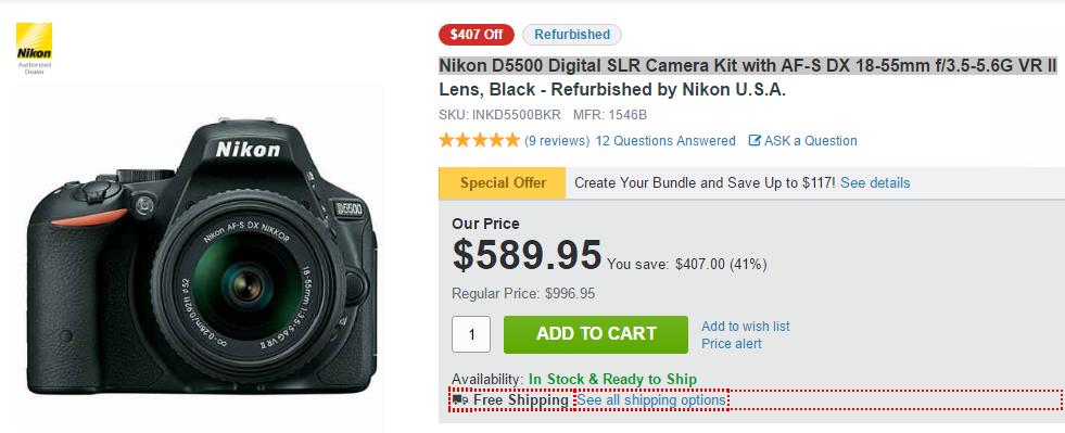 Refurbished Nikon D5500 deal