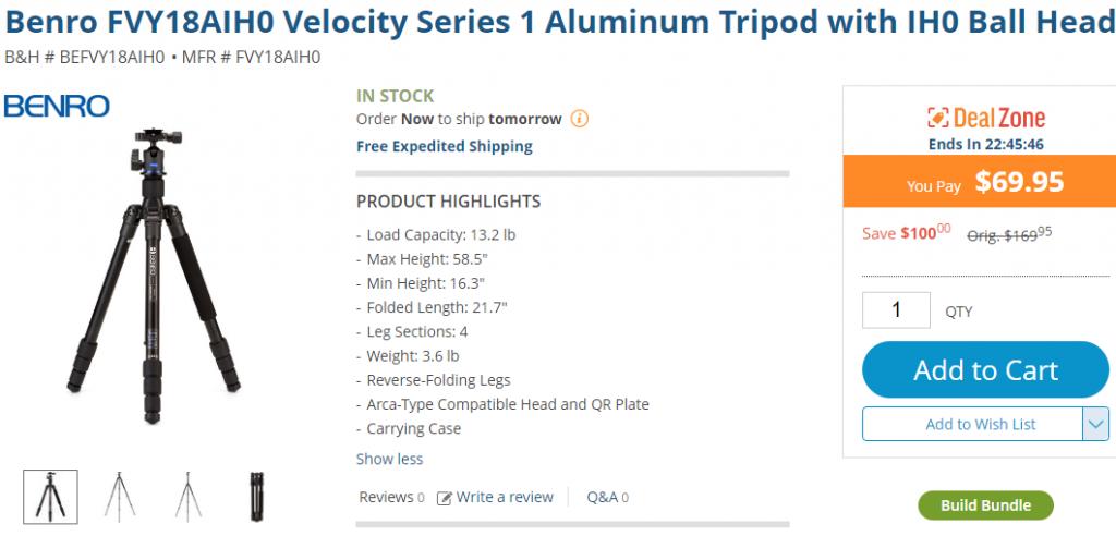 Benro FVY18AIH0 Velocity Series 1 Aluminum Tripod