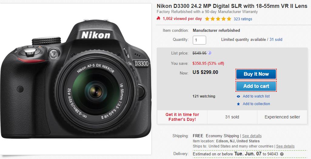 hot deal refurbished nikon d3300 with 18 55mm vr ii lens