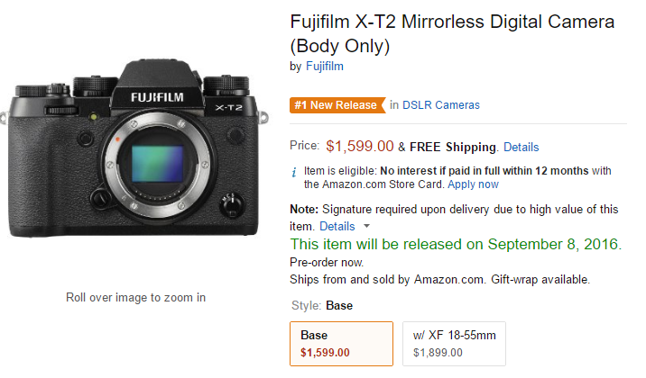 Fujifilm X-T2 in stock