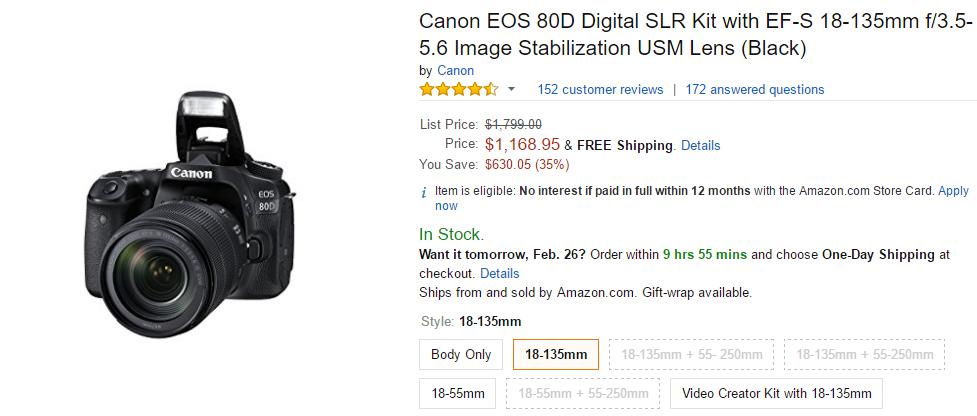 Canon EOS 80D Digital SLR Kit