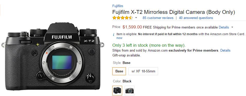 Fujifilm X-T2 in stock