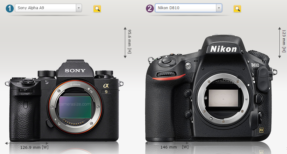 Sony A9 size comparison