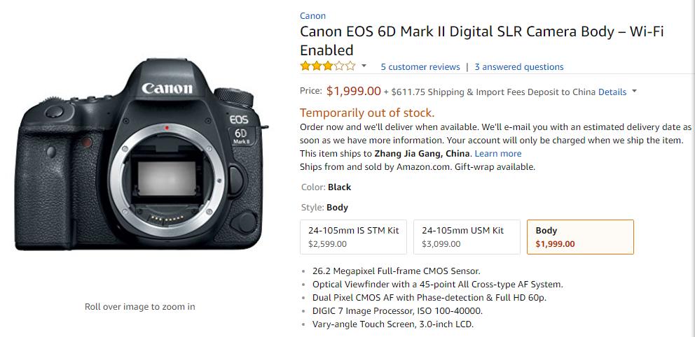 Canon EOS 6d Mark II deal
