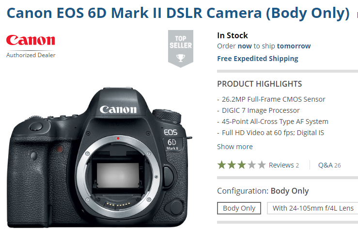 Canon eos 6d Mark II in stock