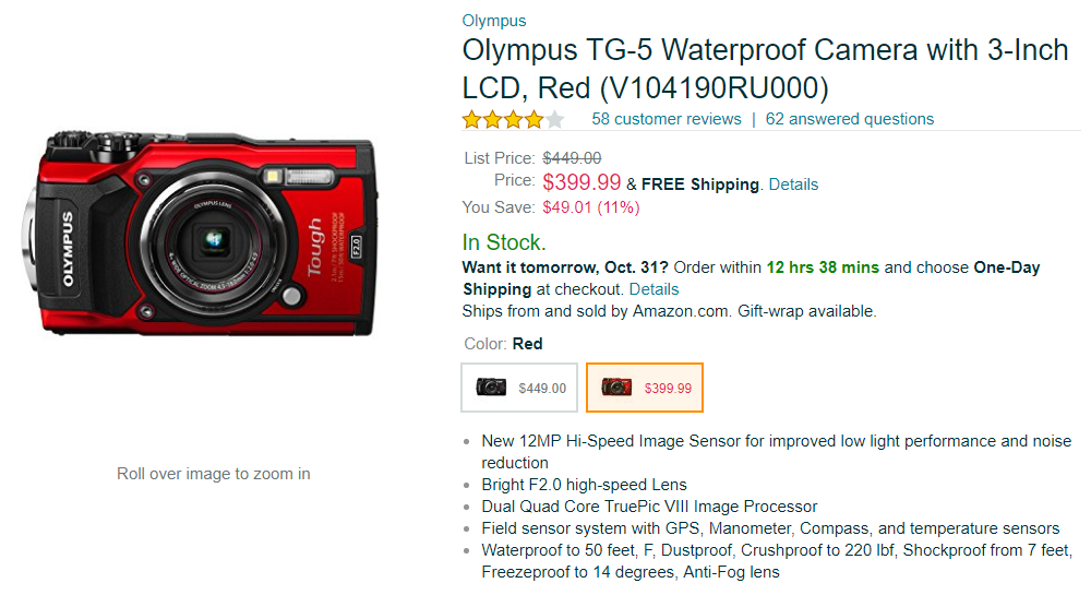 Olympus TG-5 red deal