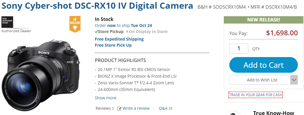 Sony RX10 IV in stock