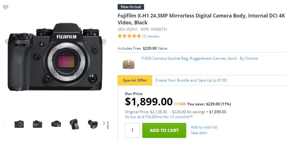 Fujifilm X-H1 in stock