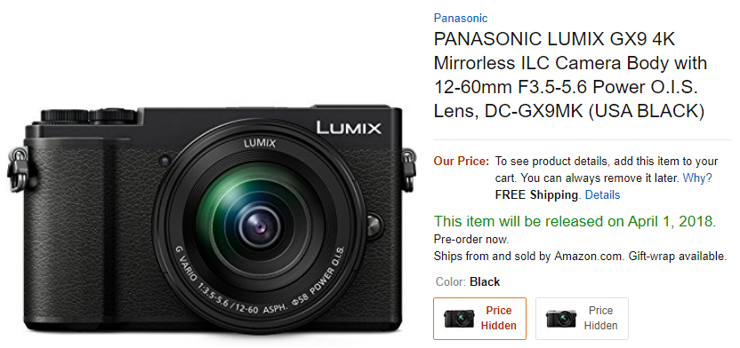 Panasonic GX9 in stock