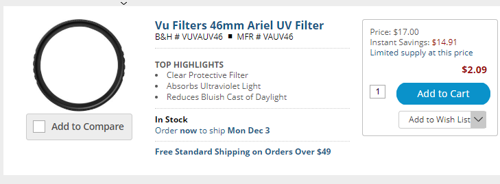 Super Hot Deals: VU Filters from 37mm to 105mm, Starting at $2!