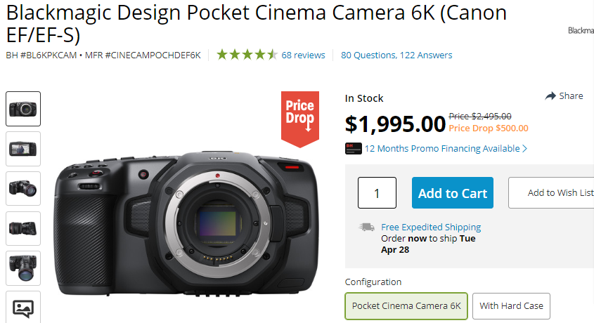Hot Deal 500 Off Onblackmagic Design Pocket Cinema Camera 6k Canon Ef Ef S Camera Rumors