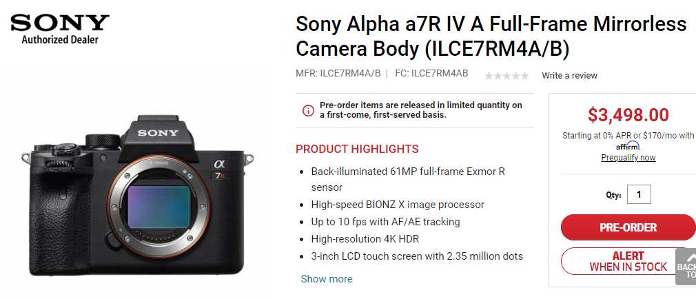 Sony a7R IV A Available for Pre-Order at Focuscamera
